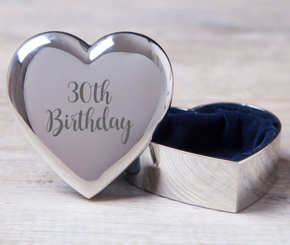 Girls 30th Birthday Gift Silver Plated Trinket Box Personalised Engraved Thirty Birthday Idea for a Girl in a Satin Lined Presentation Box