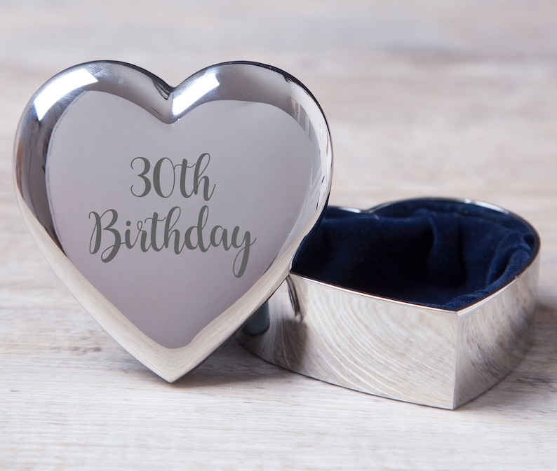 Engraved 30th Birthday Heart Silver Trinket Gifts Ideas Etsy