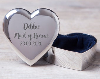 Personalised Maid Of Honour Wedding Heart Trinket Box Gifts Ideas Presents For Favours Thank You Gifts Her Womens Best Friends