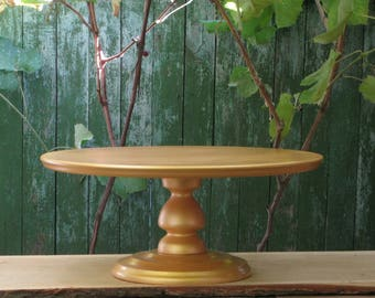 20 Inches Shiny Gold Wedding Cake Standrustic Gold Cake Standcustom S Y Gold Wood Cake Standcupcake Stand 22 24 Large Cake Plate