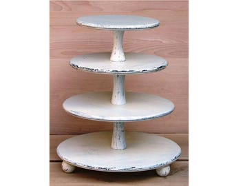 4 Tier Cupcake Stand 16-14-12-10 inches, Wedding Cupcake Stand,Cake Stand, Wood Cupcake Stand, Shabby White Chic Wedding, Cupcake Tower
