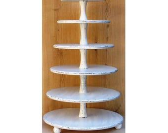 6 Tier Cupcake Stand 16-14-12-10-8-6 inches, Wedding Cupcake Stand,Cake Stand, Wood Cupcake Stand, Shabby White Chic Wedding,Cupcake Tower