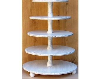 5 Tier Cupcake Stand 16-14-12-10-8 inches, Wedding Cupcake Stand,Cake Stand, Wood Cupcake Stand, Shabby White Chic Wedding, Cupcake Tower