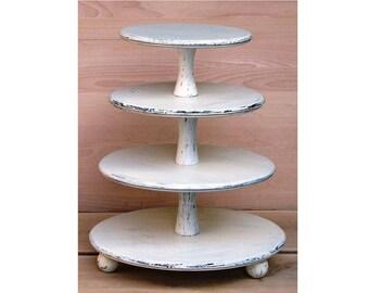 4 Tier Cupcake Stand 12-10-8-6 inches, Wedding Cupcake Stand,Cake Stand, Wood Cupcake Stand, Shabby White Chic Wedding, Cupcake Tower