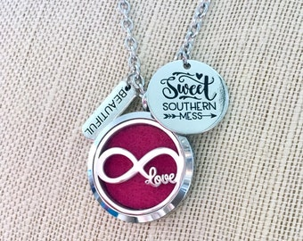 Diffuser Locket, Aromatherapy Necklace, Infinity Locket, Essential Oils Locket, Scent Necklace
