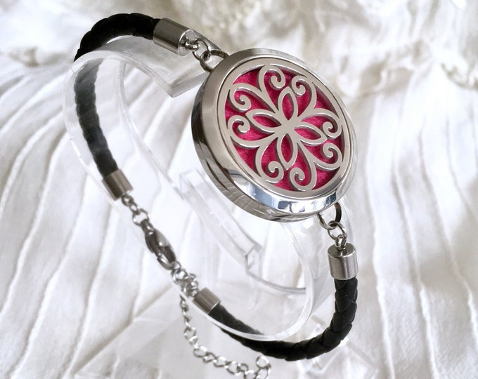 Aromatherapy Bracelet, Diffuser Locket, Cross Essential Oils Bracelet, Black Leather Bracelet