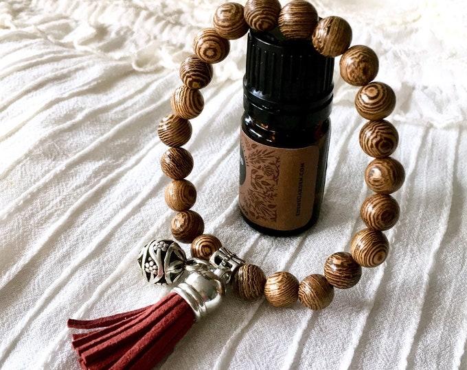 Tassel Aromatherapy Bracelet, Wooden Beads Bracelet, Diffuser Bracelet, Suede Tassel Diffuser Bracelet