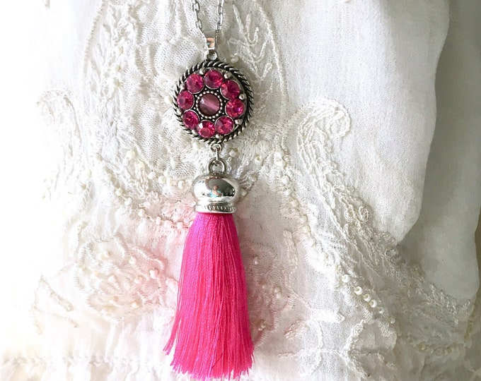 Tassel Necklace, Snap Button Necklace, Snap Charms