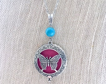 Aromatherapy Locket, Butterfly Diffuser Necklace, Essential Oils Locket, Perfume Necklace