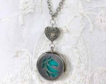 Essential Oils Necklace, Diffuser Locket, Aromatherapy Necklace