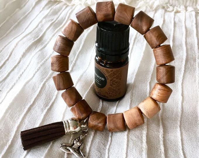 Tassel Diffuser Bracelet, Aromatherapy Bracelet, Essential Oils Bracelet, Suede Tassel Beaded Bracelet