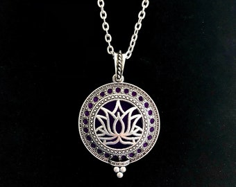 Dainty Lotus Essential Oil Diffuser Necklace ~ Sterling Silver Chain and Silver Plated Floral Locket with Natural Lava Stones