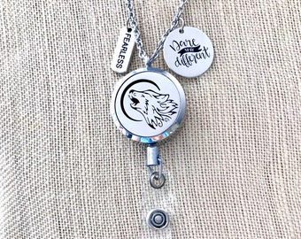 Wolf badge reel holder clip GOT Wolf badge pull Winter coming badge clip Arrow dragons gifts fan gift Throne lanyard medieval id holder