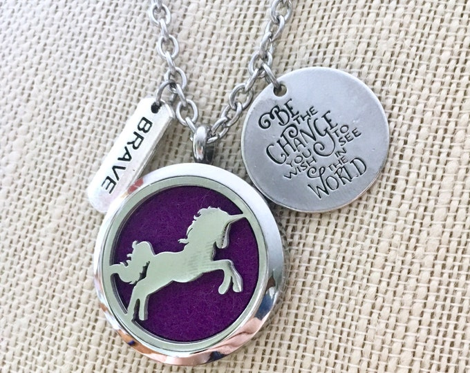 Essential Oils Necklace, Diffuser Necklace, Unicorn Locket, Aromatherapy Necklace