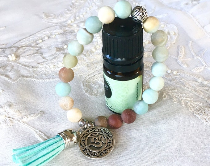 Amazonite Aromatherapy Bracelet, Tassel Diffuser Bracelet, Essential Oils Bracelet, Yoga Charm Bracelet