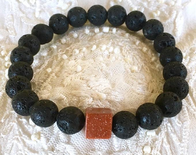 Aromatherapy Bracelet, Diffuser Bracelet, Essential Oils Bracelet, Black Lava Rock Beads