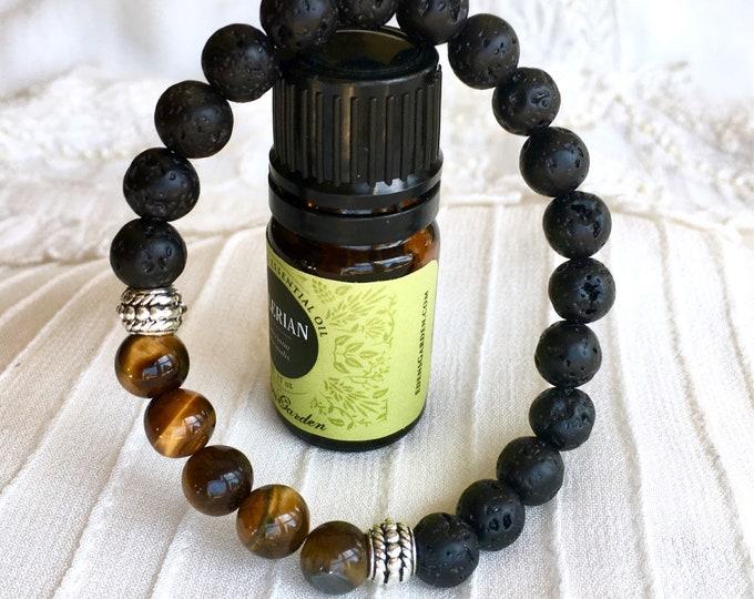 Essential Oils Diffuser Bracelet, Aromatherapy Bracelet, Black Lava Beads Bracelet, Scent Bracelet