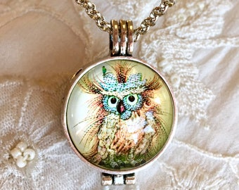 Diffuser Necklace, Aromatherapy Locket, Essential Oils Necklace, Owl Locket
