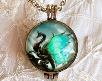 Aromatherapy Necklace, Diffuser Locket, Glow in the Dark Pendant, Essential Oils Locket, Dragon Necklace