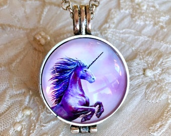 Diffuser Necklace, Aromatherapy Locket, Essential Oils Necklace, Unicorn Pendant, Fairy Pendant