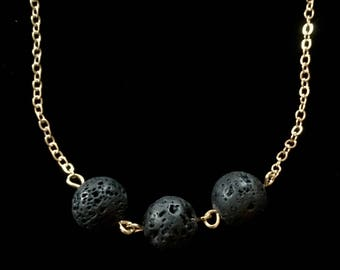 Aromatherapy Necklace, Black Lava Rock Necklace, Diffuser Necklace, Essential Oils Necklace