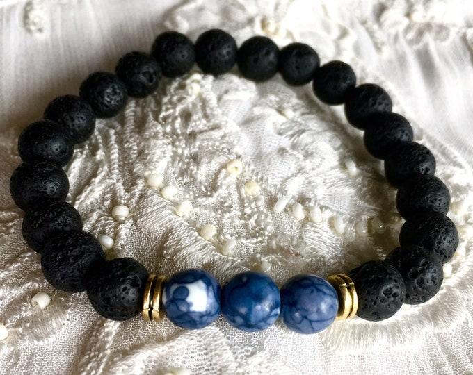 Diffuser Bracelet, Aromatherapy Bracelet, Black Lava Bracelet, Essential Oils Bracelet