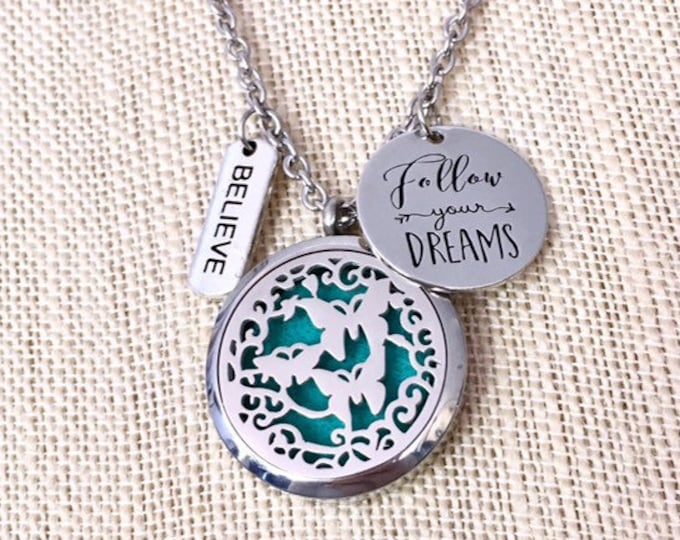 Diffuser Necklace, Aromatherapy Locket, Essential Oils Necklace, Butterflies Locket, Oils Diffuser Locket
