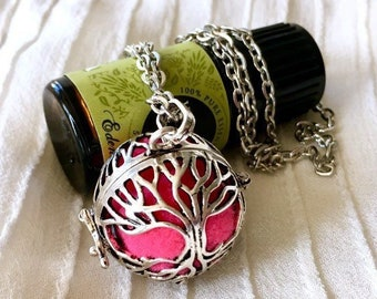Diffuser Locket Necklace, Cage Locket, Aromatherapy Necklace, Essential Oils Diffuser Locket, Tree of Life Locket