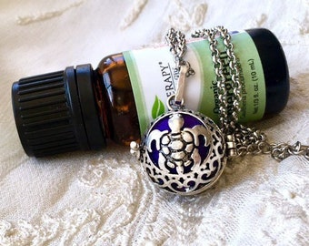 Diffuser Necklace, Turtle Essential Oils Locket, Aromatherapy Necklace