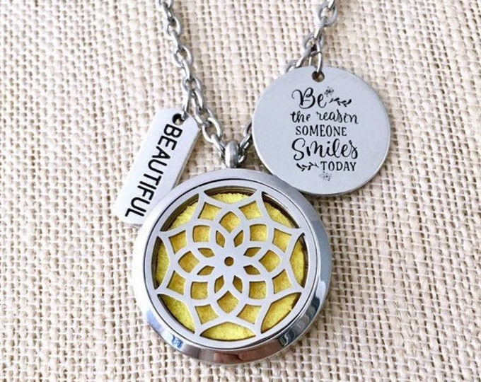 Essential Oils Necklace, Yoga Aromatherapy Locket, Lotus Diffuser, Perfume Necklace, Scented Locket