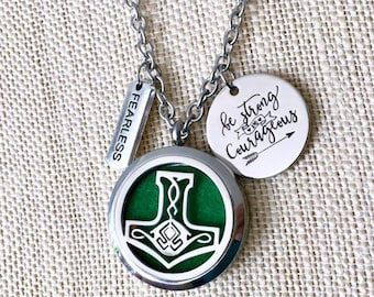 Aromatherapy Necklace, Celtic Diffuser Locket, Viking Essential Oils Necklace, Mandala Diffuser Locket