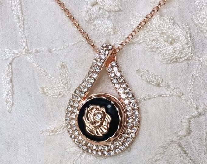 Snap Button Necklace, Rose Gold Necklace, Snap Charms