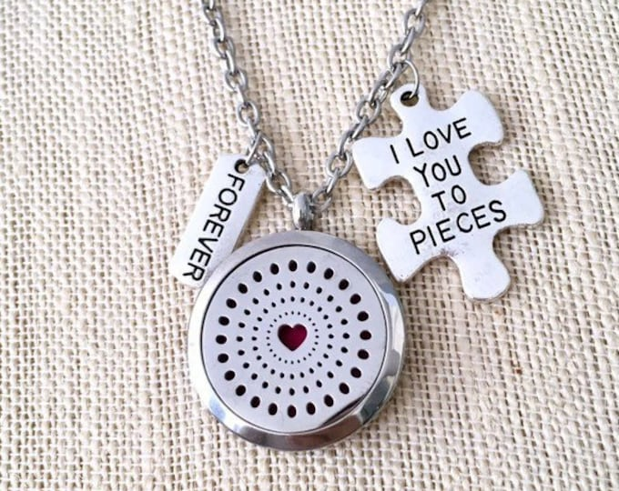 Aromatherapy Necklace, Essential Oils Diffuser Locket, Autism Charm, Scented Necklace