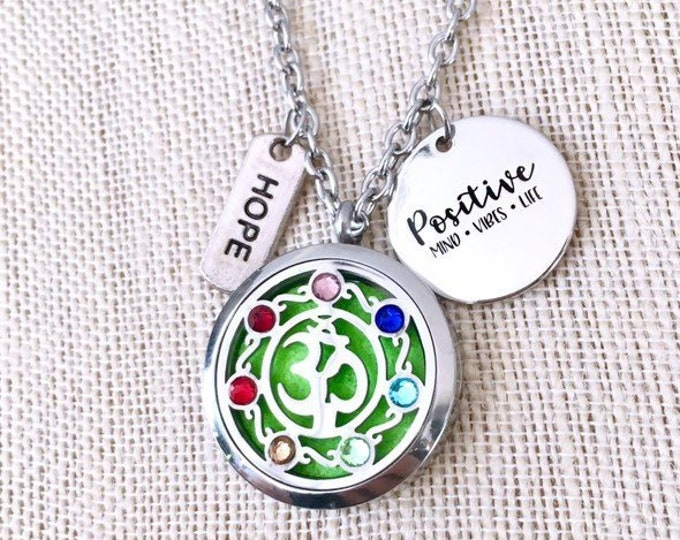 Yoga Essential Oils Necklace, Chakras Diffuser Locket, Aromatherapy Necklace