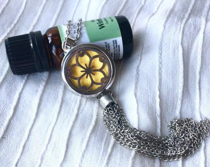 Aromatherapy Tassel  Locket, Diffuser Necklace, Essential Oils Diffuser Locket