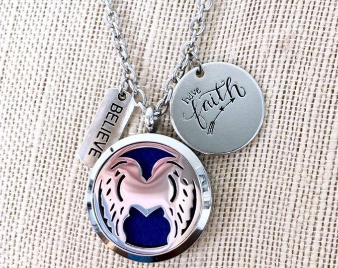 Aromatherapy Diffuser Necklace, Essential Oils Locket, Angel Wings Pendant