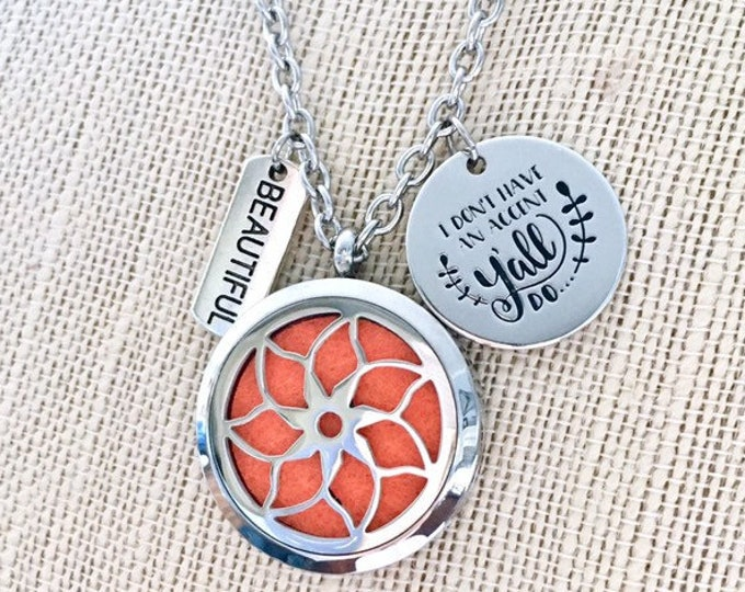 Essential Oils Necklace, Aromatherapy Diffuser Locket, Southern Girl Charm, Scent Diffuser Pendant