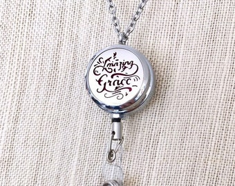 New Badge Reel Holder, ID Card Clip Diffuser, Aromatherapy Locket Necklace, Essential Oils Clip On