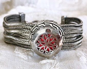 Essential Oils Locket Bracelet,  Aromatherapy Bracelet,  Snap Button Bracelet, Snap Charm, Snap Locket
