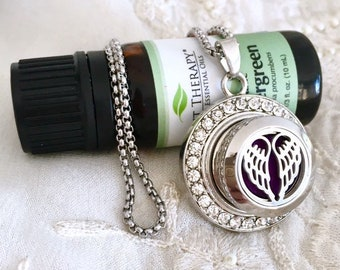 Silver Snap Button Necklace, Aromatherapy Snap Button Diffuser, Essential Oils Diffuser Snap
