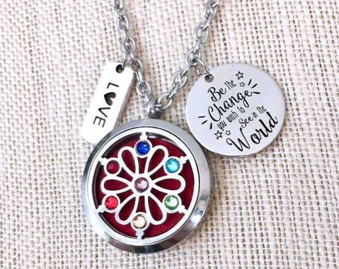 Aromatherapy Necklace, Yoga Essential Oils Diffuser Locket, Chakras Diffuser Necklace, Essential Oils Necklace