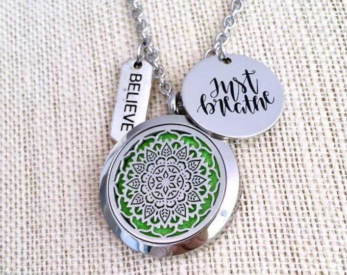 Essential Oils Locket, Mandala Aromatherapy Necklace, Yoga Diffuser Locket, Oils Necklace