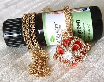 Aromatherapy Locket, Gold Diffuser Necklace, Essential Oils Locket, Gold Locket