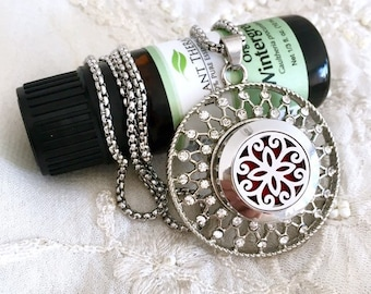 Diffuser Locket Necklace, Snap Button Necklace, Aromatherapy Locket Snap, Essential Oils Diffuser Snap