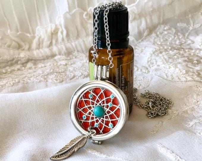 Aromatherapy Locket, Essential Oils Necklace, Diffuser Locket, Dream Catcher Necklace