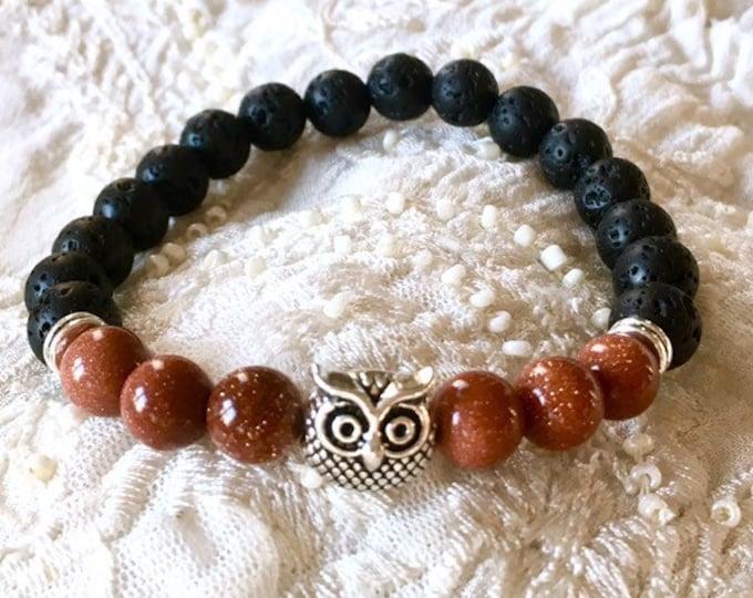 Aromatherapy Bracelet, Essential Oils Diffuser Bracelet, Black Lava Rock Bracelet