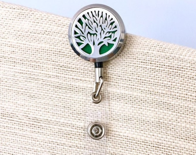New Style Badge Reel Holder, ID Card Clip Diffuser, Aromatherapy Locket, Essential Oils Clip On, Tree of Life