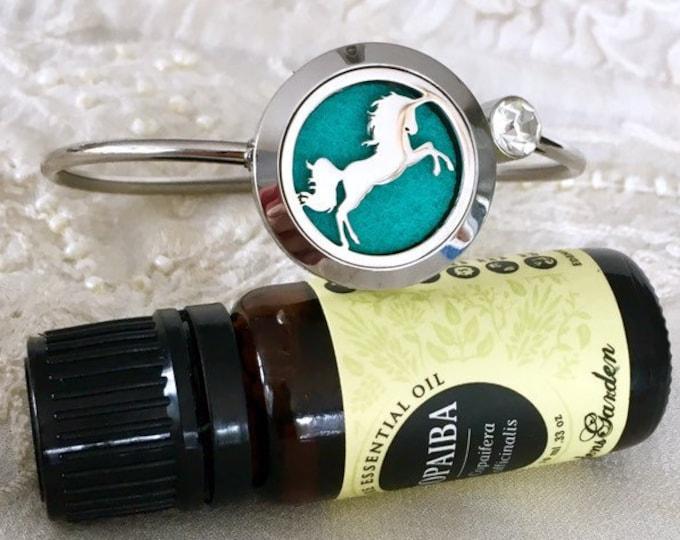Unicorn Essential Oils Bracelet, Horse  Diffuser Cuff Bracelet, Aromatherapy Locket