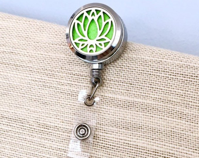 Badge Reel Holder, ID Card Clip Diffuser, Aromatherapy Locket, Essential Oils Clip On