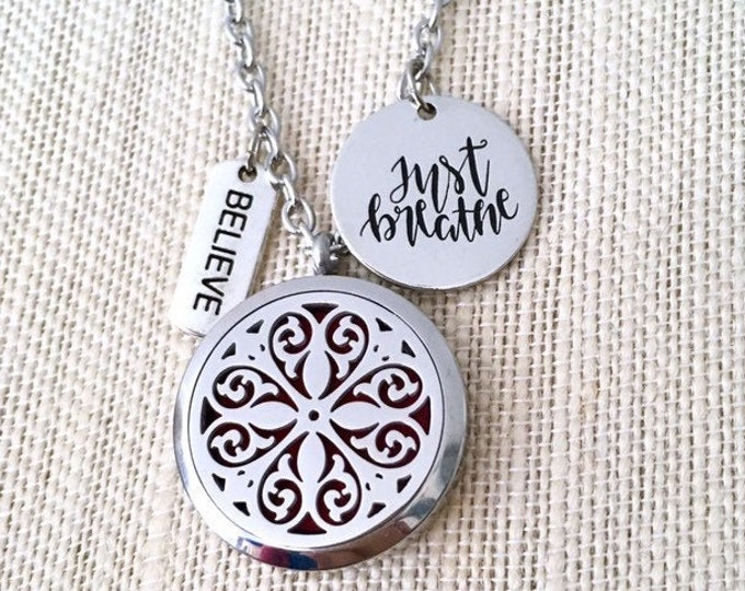 Essential Oils Necklace, Aromatherapy Locket, Oils Diffuser Necklace